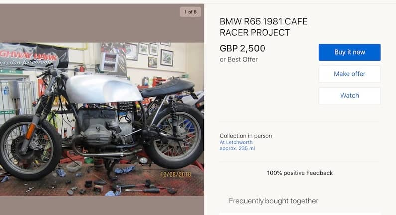 Unfinished cafe racer project for sale