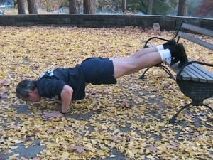 outdoor training on bench